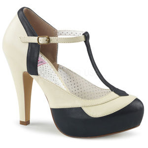 Shoes - Pin Up Shoes Platform Two Tone T-Strap High Heels